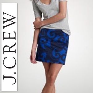 J Crew Balustrade Mini Skirt Gigi Sz 4 blue